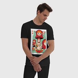 Пижама хлопковая мужская Матрешка цвета черный — фото 2