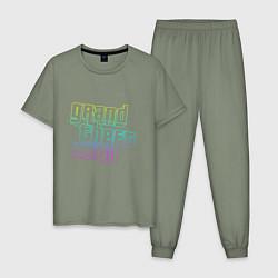 Пижама хлопковая мужская Gta logo:gradient цвета авокадо — фото 1