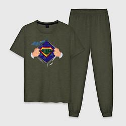 Пижама хлопковая мужская Coder цвета меланж-хаки — фото 1