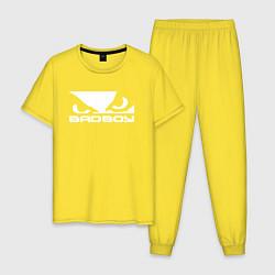 Пижама хлопковая мужская BADBOY цвета желтый — фото 1