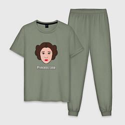 Пижама хлопковая мужская Princess Leia цвета авокадо — фото 1