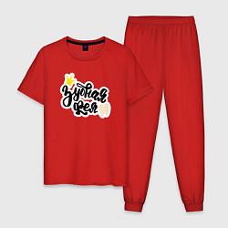 Пижама хлопковая мужская Зубная фея Стоматолог цвета красный — фото 1