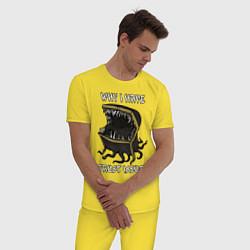 Пижама хлопковая мужская Why I Have Trust Issues цвета желтый — фото 2