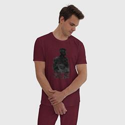 Пижама хлопковая мужская Острые козырьки цвета меланж-бордовый — фото 2
