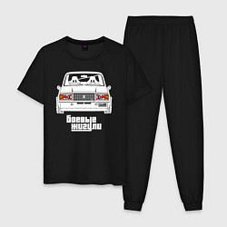 Пижама хлопковая мужская Ваз 2107 боевые жигули цвета черный — фото 1