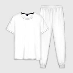 Пижама хлопковая мужская Keep calm & stay Zen цвета белый — фото 1