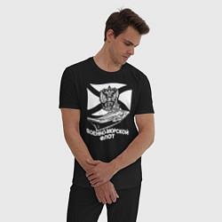 Пижама хлопковая мужская Военно - морской флот цвета черный — фото 2
