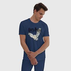 Пижама хлопковая мужская Гарри Поттер: Букля цвета тёмно-синий — фото 2