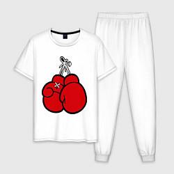 Пижама хлопковая мужская Боксерские перчатки цвета белый — фото 1