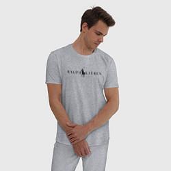 Пижама хлопковая мужская Ralph Lauren цвета меланж — фото 2