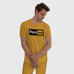 Пижама хлопковая мужская PornNub цвета горчичный — фото 2