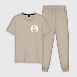 Пижама хлопковая мужская Виктор Цой цвета миндальный — фото 1