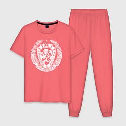 Пижама хлопковая мужская Пограничные Войска цвета коралловый — фото 1