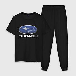 Пижама хлопковая мужская SUBARU цвета черный — фото 1