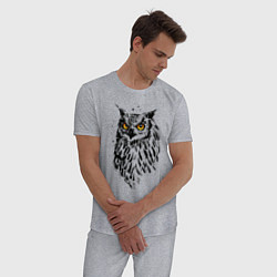 Пижама хлопковая мужская Сова цвета меланж — фото 2