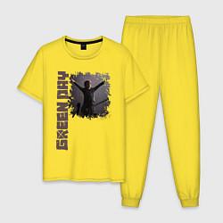 Пижама хлопковая мужская GreenDay цвета желтый — фото 1