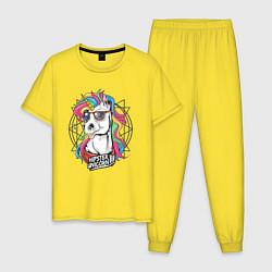Пижама хлопковая мужская Единорог хипстер цвета желтый — фото 1