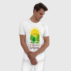 Пижама хлопковая мужская Hello Spring цвета белый — фото 2