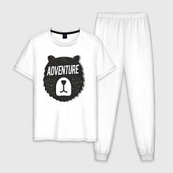 Пижама хлопковая мужская Bear Adventure цвета белый — фото 1