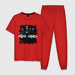 Пижама хлопковая мужская Papa roach цвета красный — фото 1