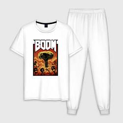 Пижама хлопковая мужская DOOM BOOM цвета белый — фото 1