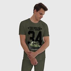 Пижама хлопковая мужская Т-34 цвета меланж-хаки — фото 2