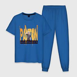 Пижама хлопковая мужская Payton Moormeier цвета синий — фото 1