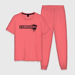 Пижама хлопковая мужская Brazzers цвета коралловый — фото 1