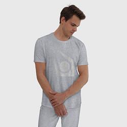 Пижама хлопковая мужская Half life combine logo цвета меланж — фото 2