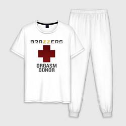 Пижама хлопковая мужская Brazzers orgasm donor цвета белый — фото 1