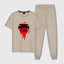 Пижама хлопковая мужская VENUM цвета миндальный — фото 1