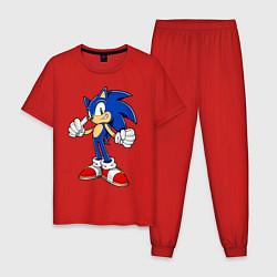 Пижама хлопковая мужская Sonic цвета красный — фото 1