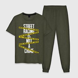 Пижама хлопковая мужская Street racing цвета меланж-хаки — фото 1