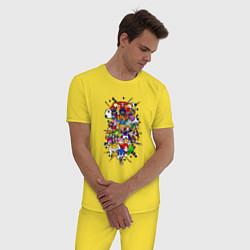 Пижама хлопковая мужская Sonic Pixel Friends цвета желтый — фото 2