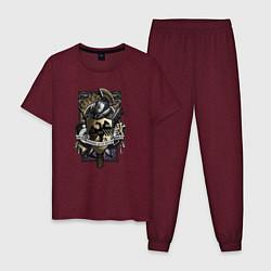 Пижама хлопковая мужская Сейнт 14 цвета меланж-бордовый — фото 1