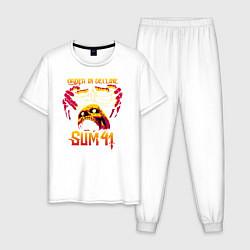 Пижама хлопковая мужская Sum 41 Order In Decline цвета белый — фото 1
