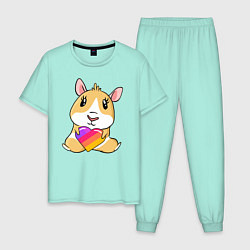 Пижама хлопковая мужская Морская Свинка Likee цвета мятный — фото 1