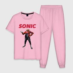 Пижама хлопковая мужская SONIC Доктор Эггман цвета светло-розовый — фото 1