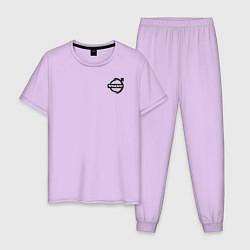 Пижама хлопковая мужская VOLVO цвета лаванда — фото 1