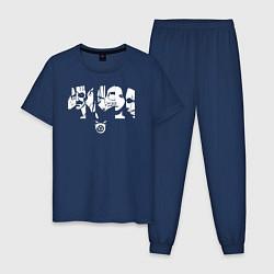 Пижама хлопковая мужская Gomunguls цвета тёмно-синий — фото 1