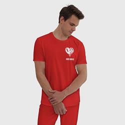 Пижама хлопковая мужская JUICE WRLD цвета красный — фото 2