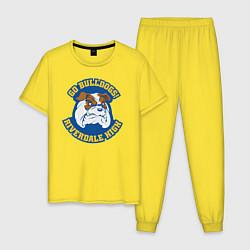 Пижама хлопковая мужская GO BULLDOGS цвета желтый — фото 1