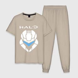 Пижама хлопковая мужская HALO цвета миндальный — фото 1