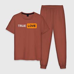 Пижама хлопковая мужская True Love цвета кирпичный — фото 1
