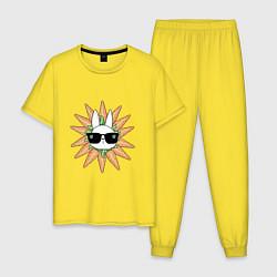 Пижама хлопковая мужская Властелин морковки цвета желтый — фото 1