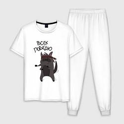 Пижама хлопковая мужская Енот Джо цвета белый — фото 1