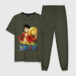 Пижама хлопковая мужская One Piece цвета меланж-хаки — фото 1