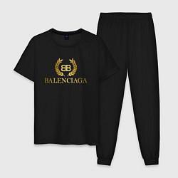 Пижама хлопковая мужская BALENCIAGA цвета черный — фото 1