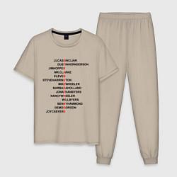Пижама хлопковая мужская Stranger things цвета миндальный — фото 1