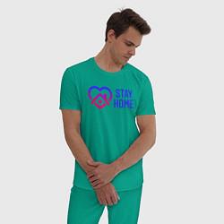 Пижама хлопковая мужская Сидим Дома цвета зеленый — фото 2